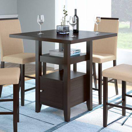 table de salle manger bistro corliving hauteur de comptoir avec armoire de rangement. Black Bedroom Furniture Sets. Home Design Ideas