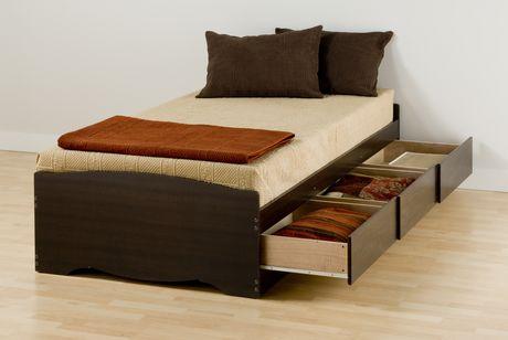 prepac base de lit plateforme avec 3 tiroirs de rangement simple xl. Black Bedroom Furniture Sets. Home Design Ideas
