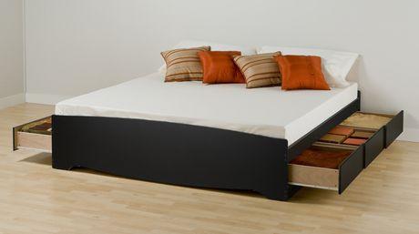 prepac base de lit plateforme avec 6 tiroirs de rangement tr s grand. Black Bedroom Furniture Sets. Home Design Ideas