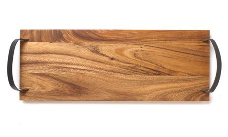 grand plateau de service avec poign e en cuir d 39 ironwood walmart canada. Black Bedroom Furniture Sets. Home Design Ideas