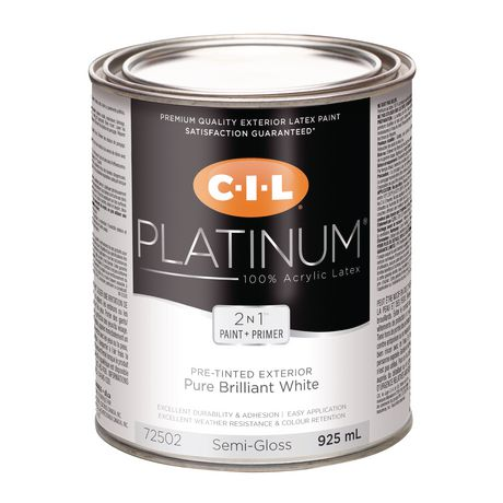 Cil platinum 100 acrylic exterior pre tinted white 925 ml semi gloss finish - Acrylic paint exterior plan ...