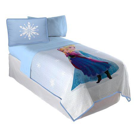 ensemble courtepointe et couvre oreiller la reine des neiges d cong lation pour lit jumeau. Black Bedroom Furniture Sets. Home Design Ideas