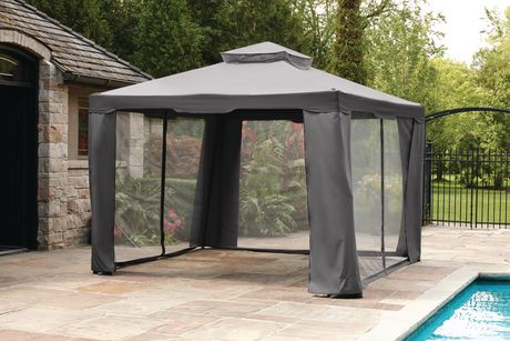 hometrends 10 ft gazebo with mesh netting grey walmart. Black Bedroom Furniture Sets. Home Design Ideas