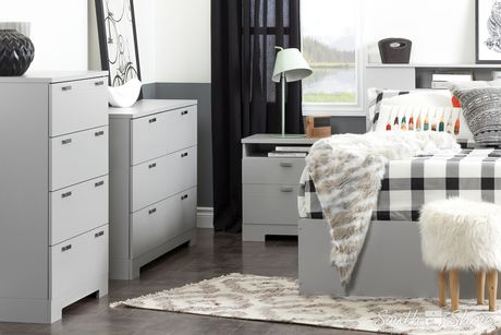 south shore reevo t te de lit biblioth que double grand 54 60 39 39 gris clair. Black Bedroom Furniture Sets. Home Design Ideas