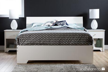 Lit plateforme avec t te de lit de meubles south shore for Chambre a coucher walmart