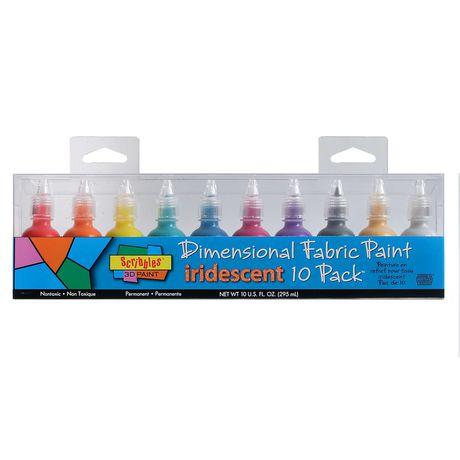 scribbles 3d fabric paint 10 pack iridescent