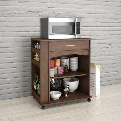 nexera walnut 1 drawer mobile microwave cart. Black Bedroom Furniture Sets. Home Design Ideas