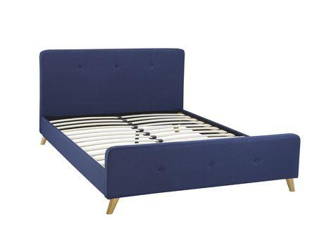 Brassex Inc Tufted Queen Platform Bed Frame Blue