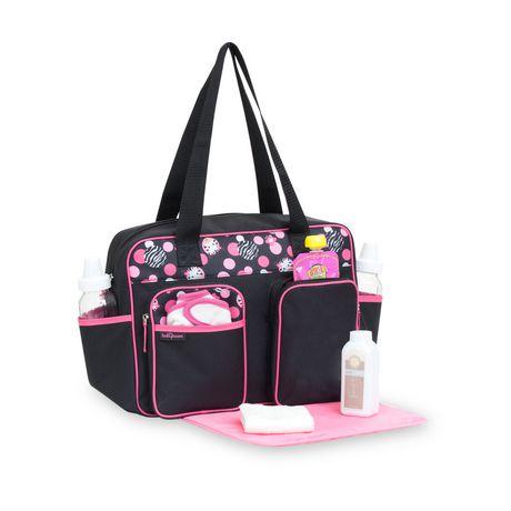 baby zebra duffle diaper bag black pink. Black Bedroom Furniture Sets. Home Design Ideas