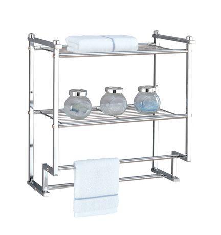 Chrome 2 Tier Shelf With Towel Bars