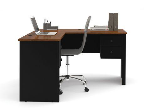 somerville l shaped desk in black and tuscany brown. Black Bedroom Furniture Sets. Home Design Ideas