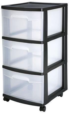 Sterilite 3 Drawer Black Medium Cart Walmart Canada