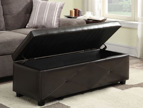 York 48 Inch Wide Brown Bonded Leather Rectangular Storage