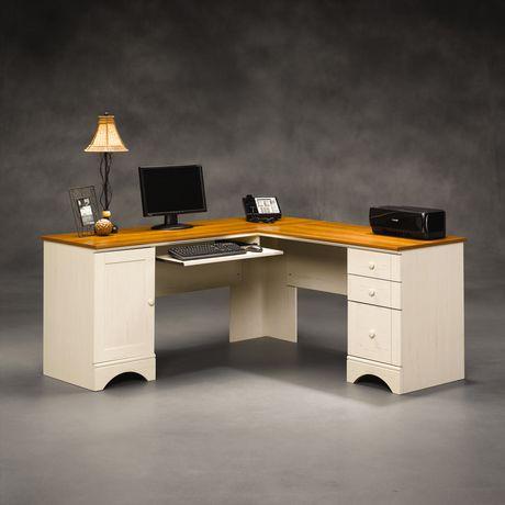 bureau d ordinateur d angle sauder harbor view finition blanc antique avec accents en merisier. Black Bedroom Furniture Sets. Home Design Ideas