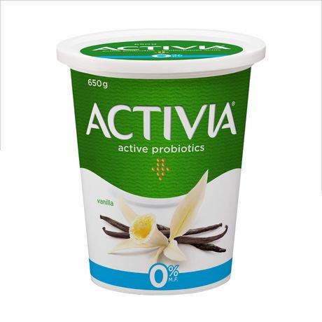 activia fat free vanilla 0% m.f. probiotic yogurt