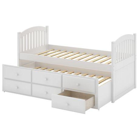 Corliving lit gigogne avec tiroirs collection heritage place en bois massif p - Lit 1 place bois massif ...