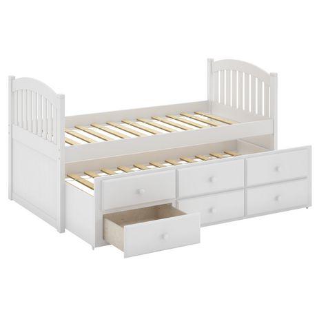 Corliving lit gigogne avec tiroirs collection heritage place en bois massif p - Lit gigogne bois massif blanc ...