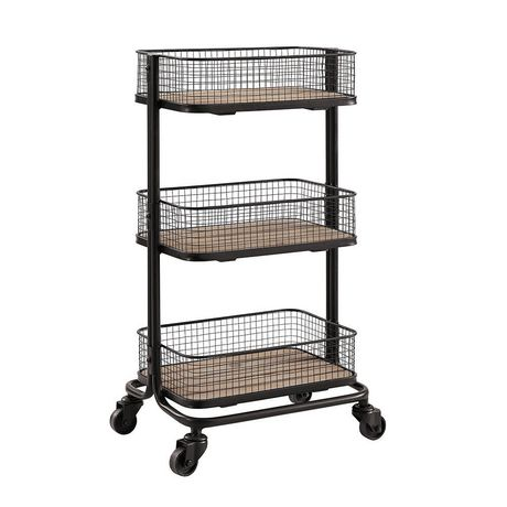 hometrends 3 tier mesh cart with wheels. Black Bedroom Furniture Sets. Home Design Ideas