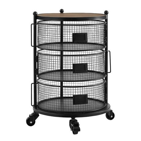hometrends 3 tier round wire cart with wheels. Black Bedroom Furniture Sets. Home Design Ideas