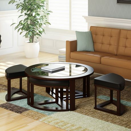 Belgrove Coffee Table With 4 Stools