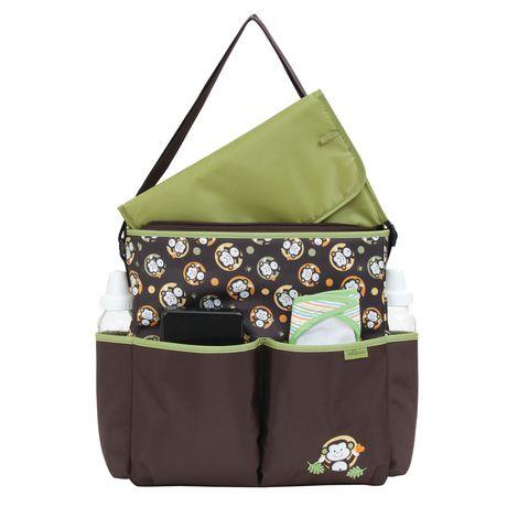 sac couches de luxe style fourre tout motif de singes avec tui lingettes de baby boom. Black Bedroom Furniture Sets. Home Design Ideas