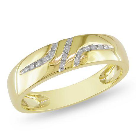 Miabella Bague de mariage pour hommes avec diamant 1/10 ct en or jaune ...
