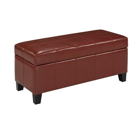 Brassex ottoman with storage red walmartca for Storage ottoman walmart