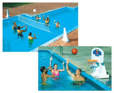 jouet combin de volley ball basket ball pool jam de swimline pour piscines creus es. Black Bedroom Furniture Sets. Home Design Ideas