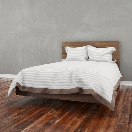Lit plateforme double nocce de nexera avec t te de lit en for Lit plateforme