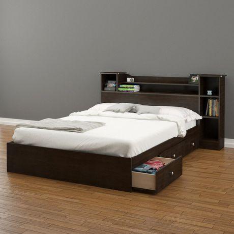 nexera pocono full size espresso headboard and storage bed. Black Bedroom Furniture Sets. Home Design Ideas