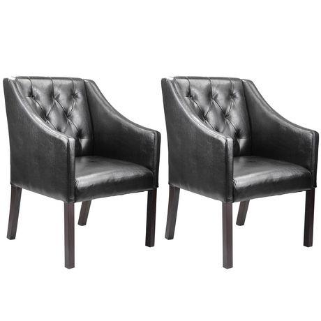Corliving antonio black bonded leather accent club chairs walmart ca