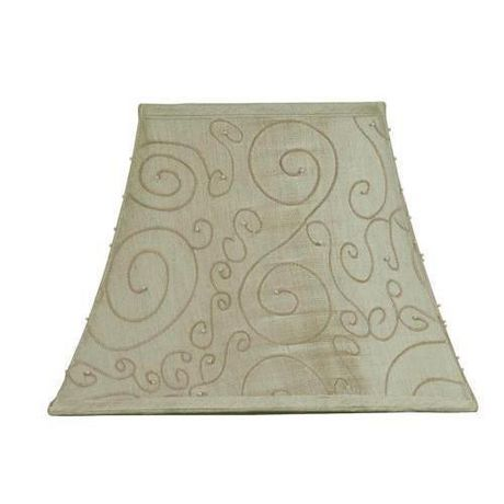 Taupe rectangular shade with pearls at - Abat jour lyre ...
