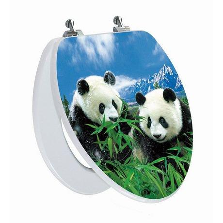 si ge de toilette allong avec image 3d haute r solution d une famille de pandas charni re. Black Bedroom Furniture Sets. Home Design Ideas
