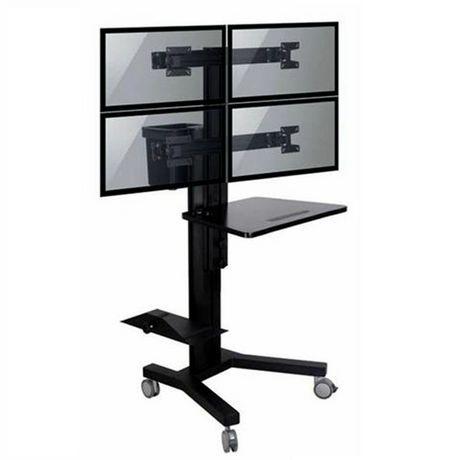 support mobile pour 4 t l viseurs avec support de pc tygerclaw lvw8607. Black Bedroom Furniture Sets. Home Design Ideas
