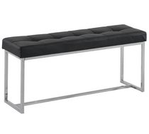 Banc double capitonné similicuir/chrome Noir