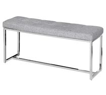 Tufted faux leather/chrome double bench Black/White