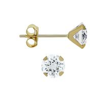 Aurelle- 10KT Yellow Gold Boxed Earrings with 3MM Round Swarovski Cubic Zirconia