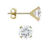 Aurelle- 10KT Yellow Gold Boxed Earrings with 5MM Round Swarovski Cubic Zirconia