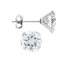 Aurelle- 10KT White Gold Boxed Earrings with 6mm Round Swarovski Cubic Zirconia
