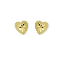 Aurelle- 10KT Yellow Gold Diamond Cut Heart earrings with medium posts