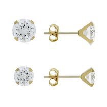 Aurelle- 10KT Yellow Gold Boxed Earring SET 3MM ROUND AND 4MM ROUND Cubic Zirconia Swarovski