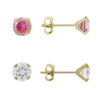 Aurelle- 10KT Yellow Gold Earring Set with 3MM White & 3MM Pink Swarovski Cubic Zironcia