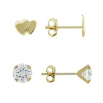 Aurelle- 10KT Yellow Gold Earring Set with 3mm Round White Swarovski Cubic Zirconia & Double Heart Earrings
