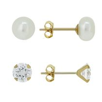 Aurelle - 10KT Yellow Gold Earring Set with 3mm Round White Swarovski Cubic Zirconia & 5mm Pearl Stud Earrings