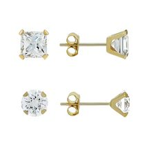 Aurelle- 14KT Yellow Gold Earring set with Swarovski 3MM Round & 3MM Square Cubic Zirconia