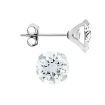 Aurelle- 14KT White Gold Earrings with Swarovski 6mm Round Cubic Zirconia