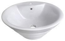 American Imaginations 19 inch width x 19 inch width Above Counter Round Vessel In White Color For Single Hole Faucet