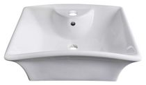 American Imaginations 20 inch width x 17 inch depth Above Counter Rectangle Vessel In White Color For Single Hole Faucet
