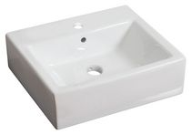 American Imaginations 20 inch width x 18 inch depth Above Counter Rectangle Vessel In White Color For Single Hole Faucet
