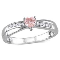 Tangelo 0.25 Carat T.G.W. Morganite and Diamond-Accent Sterling Silver Heart Ring 8